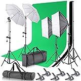 Neewer Supporto fondale per Studio Fotografico 2,6x 3m/2.6x 3m Sfondo Supporto con 10x 12Piedi/3x 3.6Meters fondale, 800W 5500K Ombrello Softbox Kit di Illuminazione Continua per Fotografia