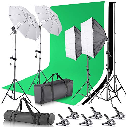 Neewer Photo Studio 8.5x10ft / 2.6x3m Hintergrund, Support System Steht mit 10x12 Fuß / 3x3.6 Meter Kulisse, 800W 5500K Continuous Regenschirm Softbox Beleuchtung Kit für Fotografie -