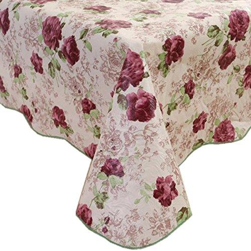 Tovaglia in pvc fanjow®, flanella di plastica, impermeabile, a prova di olio, copertura di tavolo da pranzo, lavabile, purple rose, 137cm*183cm