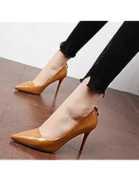 Xue Qiqi Escarpins L'Élégante cravate fine avec des chaussures de talon chaussures unique bouche peu profondes de la pointe sauvage,39, chaussures noires.