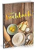 Dékokind Leeres Kochbuch: Für über 80 Lieblingsrezepte || Ca. A5 Softcover || Rezeptbuch zum Selbstgestalten / Selberschreiben mit Inhaltsverzeichnis || Motiv: Backen
