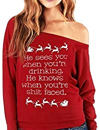 Jimmkey Loose Tops Fashion Long Sleeve Sweatshirt Casual Plus Size Jumper Off Shoulder Christmas Letter Printed Pullover Tops Scoop Neck T-Shirt Cute Reindeer Print Going Out Blouse Coat