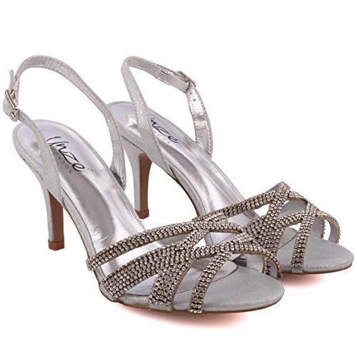 Unze Frauen Barna 'Mid High Heel Party Get-Together Soiree Karneval Abend Sandalen Schuhe UK Größe 3-8 - FEE105-69 Silber