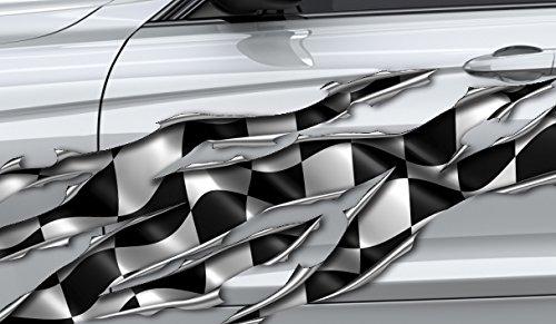 3D Autoaufkleber, Seitendekor: 3D Metal - Race Flag Scratch Rip - 150 cm