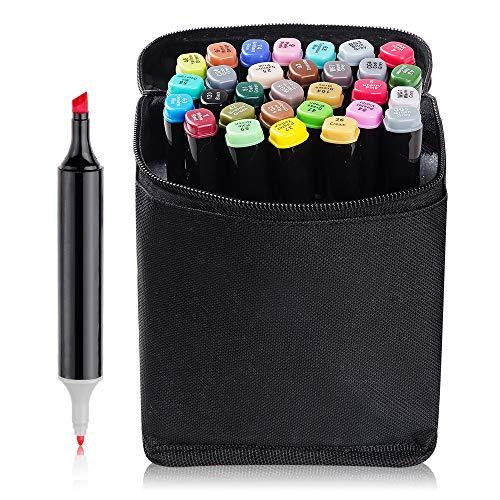 30 Farben Set Marker Pen Dual Tips Kunst Skizze Twin Marker Stifte Highlighters mit Tragetasche für Malerei Coloring Comic mit Tragetasche