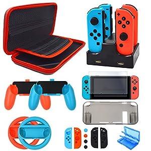 Nintendo Switch Zubehör Set – Tragetasche Hülle Displayschutzfolie für Nintendo Switch konsole – Tasche für Spiele…