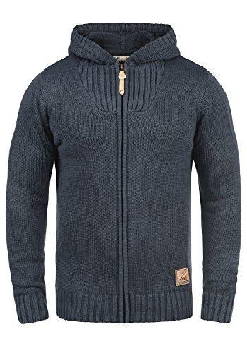 !Solid Penda Herren Strickjacke Cardigan Grobstrick Winter Pullover mit Kapuze, Größe:XXL, Farbe:Insignia Blue Melange (8991)