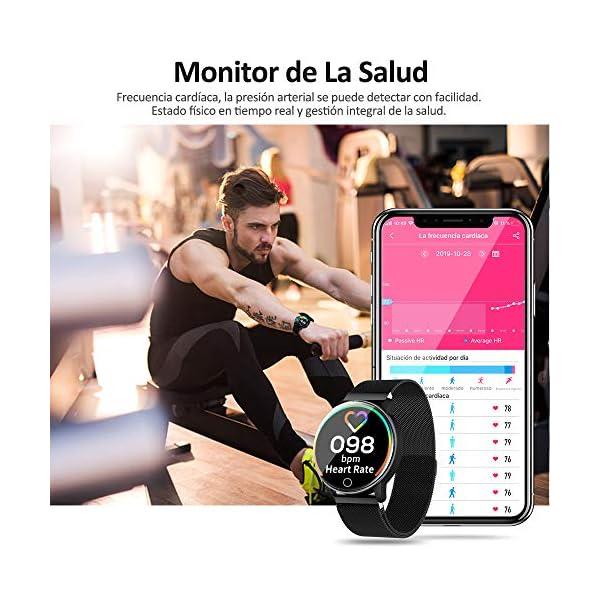 NAIXUES Smartwatch, Reloj Inteligente IP67 con Presión Arterial, 10 Modos de Deporte, Pulsómetro, Monitor de Sueño, Notificaciones Inteligentes, Smartwatch Hombre Mujer para iOS y Android (Negro) 4