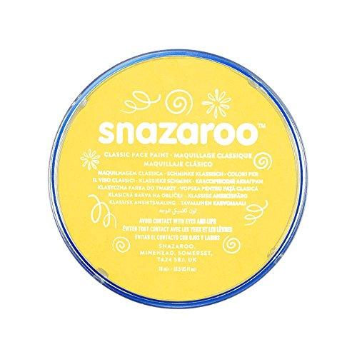 Snazaroo 1118222 Kinderschminke, hautfreundliche hypoallergene Gesichtschminke auf Wasserbasis, wasservermalbar, parabenfrei, leuchtendes Gelb, 18 ml Topf