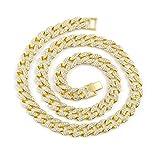 ¡Elegante cadena! Longra Ladies Unisex Charm Crystal Gold Finish Miami Cuban Link Cadena Hombres Hip hop Collar Joyas