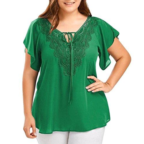 VEMOW Kommende Damen Damen Etwas Fett Typ Mode Kurve Appeal Spitze T-Shirt Bluse Fledermaus Kurzarm Tops (EU-56/CN-5XL, Grün) (Long Tops Womens)