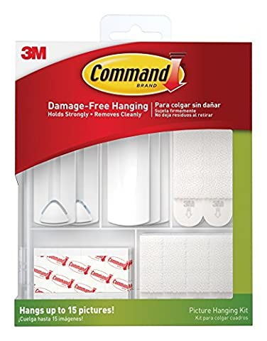 Command Picture Hanging Kit, 3-Sawtooth Picture Hangers, 2-Wire-Backed Picture Hangers, 5-Large Strips, 4-Sets of Large Picture Hanging Strips, 8-Sets of Small Picture Hanging Strips, 16-Poster Strips by