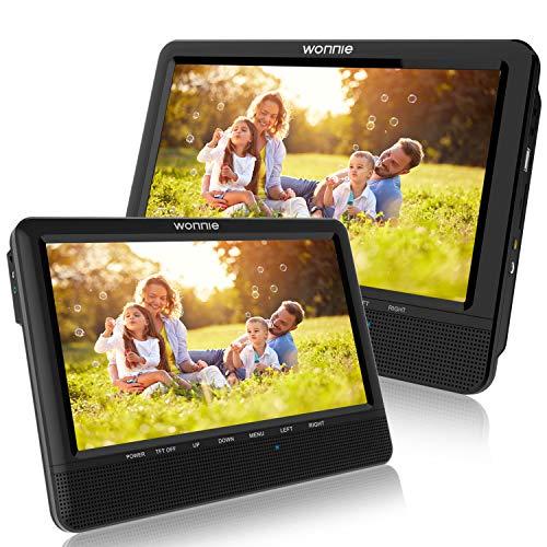 """WONNIE 10.1"""" Reproductor de DVD Portátil con 2 Pantallas Soporta Tarjeta SD/USB para Reposacabezas de Coche con Mando a Distancia"""