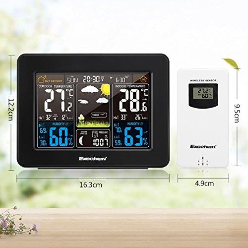 Excelvan Estación Meteorológica con Sensor Inalámbrico,  Pantalla LCD,  Pronóstico del Tiempo,  Humedad,  Temperatura,  Presión del Aire,  Alarma con Repetición,  Alerta de Baja Temperatura,  Fases de la Luna