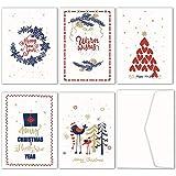 JOFANZA Weihnachten Karten in 30 Stücken in 5 Designs 30 Karten & Weisse Umschlägen (CHX01)