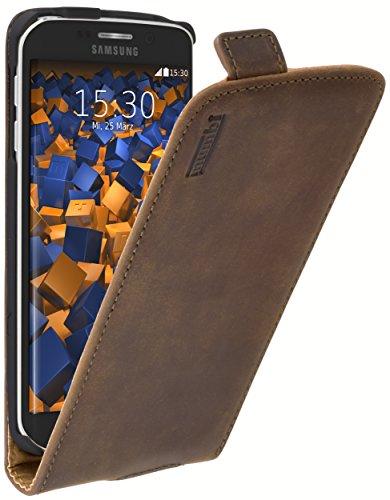 mumbi PREMIUM Leder Flip Case für Samsung Galaxy S6 Edge Tasche braun