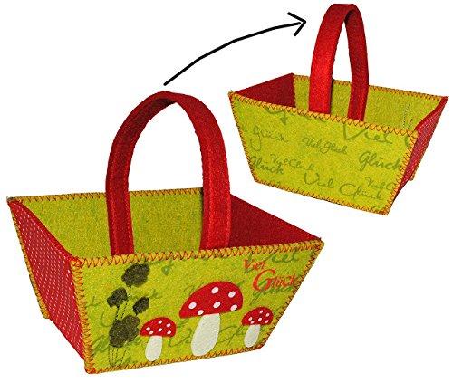 """Preisvergleich Produktbild Filztasche / Geschenktasche / Aufbewahrungsbox - """" Viel Glück """" Glückspilz & Pilz mit Kleeblatt - Filz auch als Filztopf Topf - Taschen Filztaschen für Kinder & Erwachsene - Dekotasche / Streukörbchen Körbchen"""