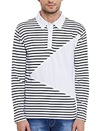 Hypernation White And Blue Stripe Cotton Polo T-shirt For Men