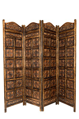 Massivholz Raumteiler (Orientalischer Paravent Raumteiler aus Holz Kamala 200 x 180cm hoch in Braun | Indischer Trennwand als Raumtrenner oder Dekoration im Zimmer oder Sichtschutz im Garten, Terrasse oder Balkon)