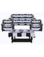 "Kuber Industries Side Flower Cotton 5 Seater Sofa Cover with Center Table Cover, 70"" x 29"", 7 Piece, Black and White"