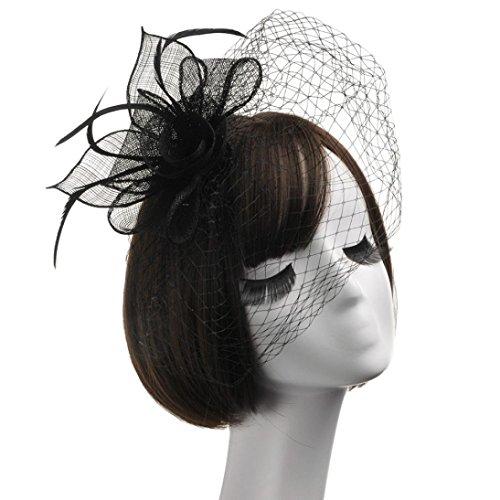 Mounter Damen Mädchen Lovely Mesh Hüte Fashion Haarband mit Clip für Hochzeit ~ Cocktail ~ Party ~ TEA PARTY ~ ROYAL Ascot Kirche, damen, 2-1, Schwarz (Minimizer Eleganz)