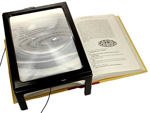A4 Full Page Magnifier Lesen Lupe auf rechteckigem Stand Hände frei 3x Vergrößerung mit 4 LED Lampe Objektiv zum Lesen für ältere Menschen, Senioren und sehbehinderte Personen