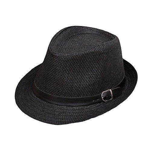 Fedora Hut für Damen und Herren Weben Panama Sonnenhut mit Sonnenschutz breite Krempe Einstellbar Band Faltbarer Strohhut Kappe Trilby Gangster Hut (Schwarz)