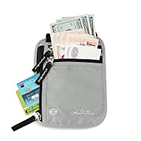 Neck Wallet, Passport Holder with RFID Blocking Anti-Theft Travel Pouch Security Wallet for Credit Cards and Passport - Silver