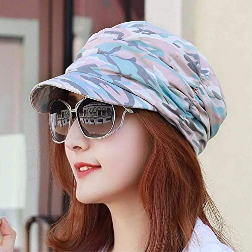Hechgobuy Frauen Hut Frau Kappe Herbst Breathable Camouflage Cap Outdoor Farbe Falten Kappe Flachen Top Strandhut (Farbe : Blau, Größe : -) -