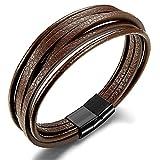 BE STEEL Schmuck Geflochtene Leder Armbänder für Herren und Jungen Wickel Handgefertigt Armband mit Magnetverschluss aus Edelstahl 19.5cm Braun