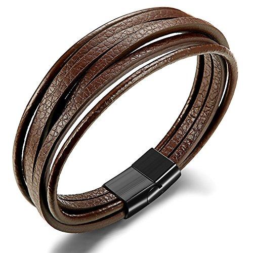 Besteel Pulsera Cuero para Hombre Cuerda Pulsera Brazalete Cordón Vintage con Cierre Magnética de Acero Inoxidable, 20.5CM brown