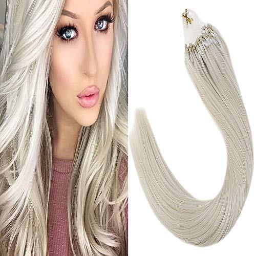 LaaVoo 14 Zoll Micro Ringe Echthaar Extensions Platinblond #60 Cold Fusion Extension 100 Remy Microing Set 50Gramm/Pack