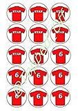 15 x 2' (5cm) Personalizado Rojo Camiseta de Fútbol Redondo Comestible Decoración PARA CUPCAKES DECORACIÓN por Topped Off