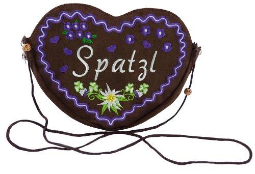 Damen Dirndl Handtasche Herz Umhängetasche Spatzl XL (25x20 cm) braun - (Violett)