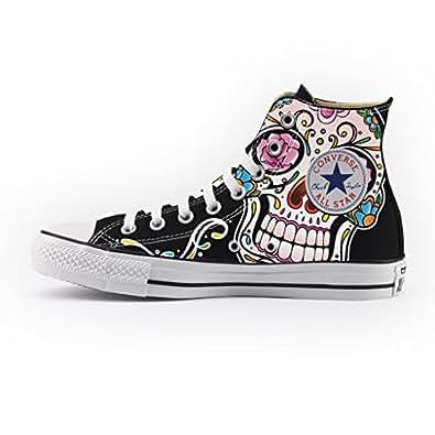 1e3bdee467ef7 Converse Personalizzate All Star Alta NERA - scarpe artigianali - stampa  MEXICAN SKULL BLACK  Amazon.it  Scarpe e borse