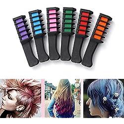 Mallalah Temporal peine tiza de pelo Juego De Regalo De Tizas De Pelo Para Niñas y Cosplay DIY(6PCS,6 Colores)