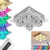 Deckenleuchte Lalaua aus Metall Stahl gebürstet - LED Farbwechsler Zimmerlampe für Schlafzimmer - Wohnzimmer - Flur