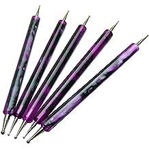 GS-Nails 5 x Doppel Spot Swirl Dotting Tool Marmorierwerkzeug Lila