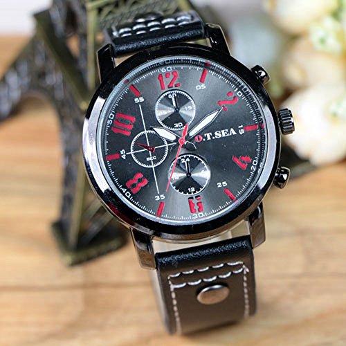 Kycut Herren-Armbanduhren Online Hot Sport Quarz Uhren Luxus Leder Schwarz