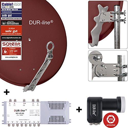 DUR-line 8 Teilnehmer Set - Qualitäts-Alu-Satelliten-Komplettanlage - Select 75/80cm Spiegel/Schüssel Rot + Multischalter + LNB - für 8 Receiver/TV [Neuste Technik, DVB-S2, 4K, 3D]
