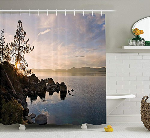 BUZRL Lake House Decor Shower Curtain Set, Lake Tahoe at Sunset with Clear Sky and Single Pine Tree Rest Peaceful Weekend Photo, Bathroom Accessories, 66x72 inches, Blue Grey -