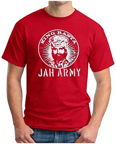 OM3 KING RASTA - T-Shirt Jah Army Roots Reggae Dancehall Ragga Irie Dub Music Dope Ganja Swag, S - 5XL Rot