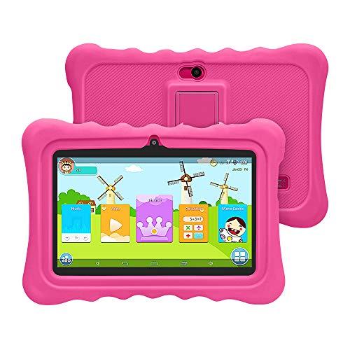 [ 2019 Upgrade] YUNTAB Q88H 7-Zoll-Kinder-Tablet mit Parent-Control-Kinder-APP, Android 4.4,1 GB RAM + 8 GB ROM, Allwinner A33 Quad-Core 1,5 GHz, Dual-Kamera, WLAN und Bluetooth(Rosa)