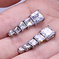 Stud Earrings - Huitan High Quality Stud Earrings Square Brilliant Cubic Zircon 5 Different Size Available Trendy Romantic Earring For Girl (6mm White)
