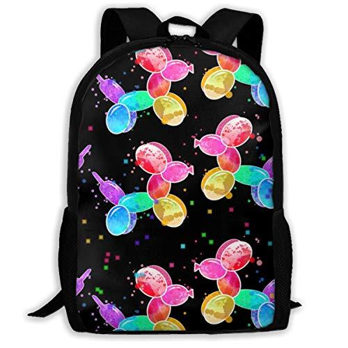 Regenbogen-Aquarell-Ballon-Hunde auf Black_584 Reise-Laptop-Rucksack, extra große College School Student Rucksack für Männer und Frauen (Classic Backpack)