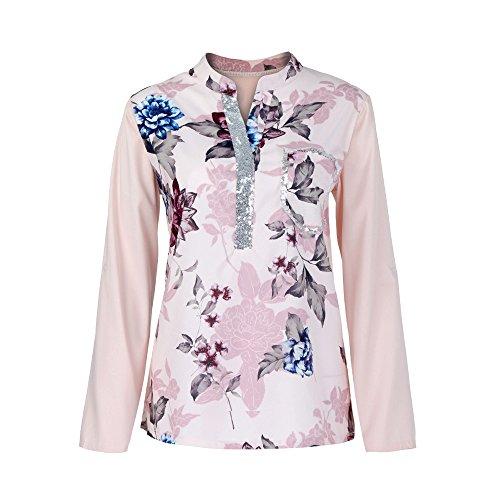 Yvelands Frauen Plus Size V-Ausschnitt Print Langarm Pailletten Bluse Pullover Tops ()