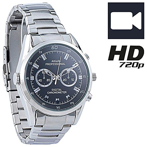 OctaCam Spy Watch: HD-Kamera-Uhr VA-720 mit 720p-HD-Video interpoliert, 3 IR-LEDs, 8 GB (Spy Uhr)