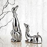 Porzellan Figur Hund, Purelifestyle, Galvanisch Hündchen Statue, 2-teilig Set Tischdeko, Geschenk