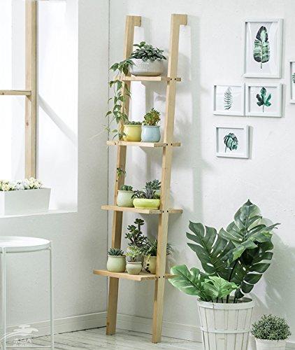 Pflanzenstandplatz Solide Holzleiter Blumenständer geeignet für Wohnzimmer Balkon | 2 Farbe (Farbe : Holzfarbe)