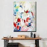 TTKX@ Handbemalte Abstrakte Messer Blumen-Ölgemälde auf Leinwand Handgemachte Große Blumenbilder Wohnkultur Wandkunst Bunte Bild,50X80Cm